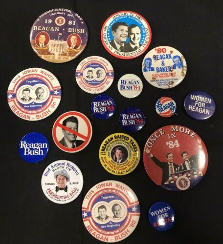 Ronald Reagan + George Bush Presidential Political Pin Button Lot of 17pcs JH939