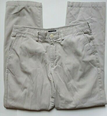 Nautica Clipper Dress Pants Size 36 x 34 Mens Khaki Casual Cotton Flat Front