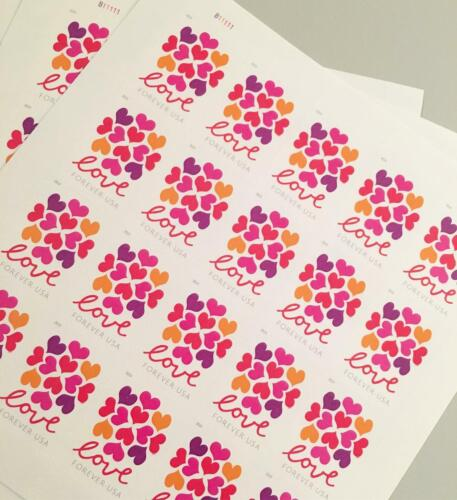 100 USPS Hearts Blossoms Forever Stamps 5 Panes of 20 First Class Mail Postage