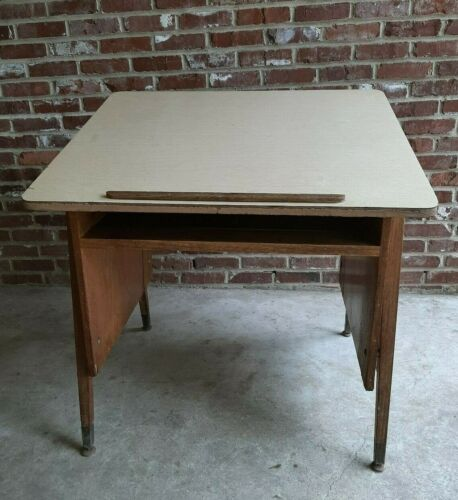Vintage Adjustable Drafting Table Drawing Wood Desk