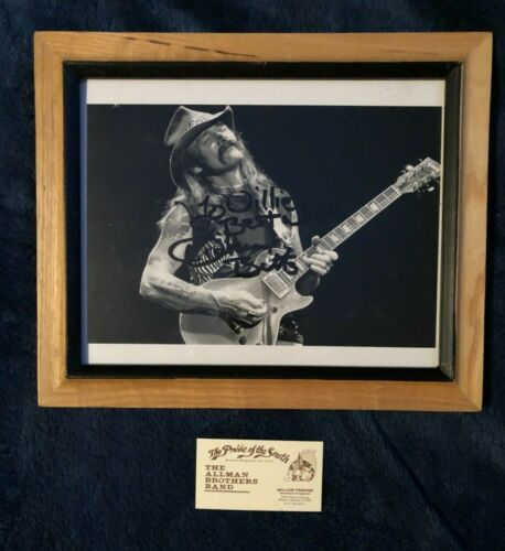 allman brothers dickey betts signed photo to willie perkins & bus. card