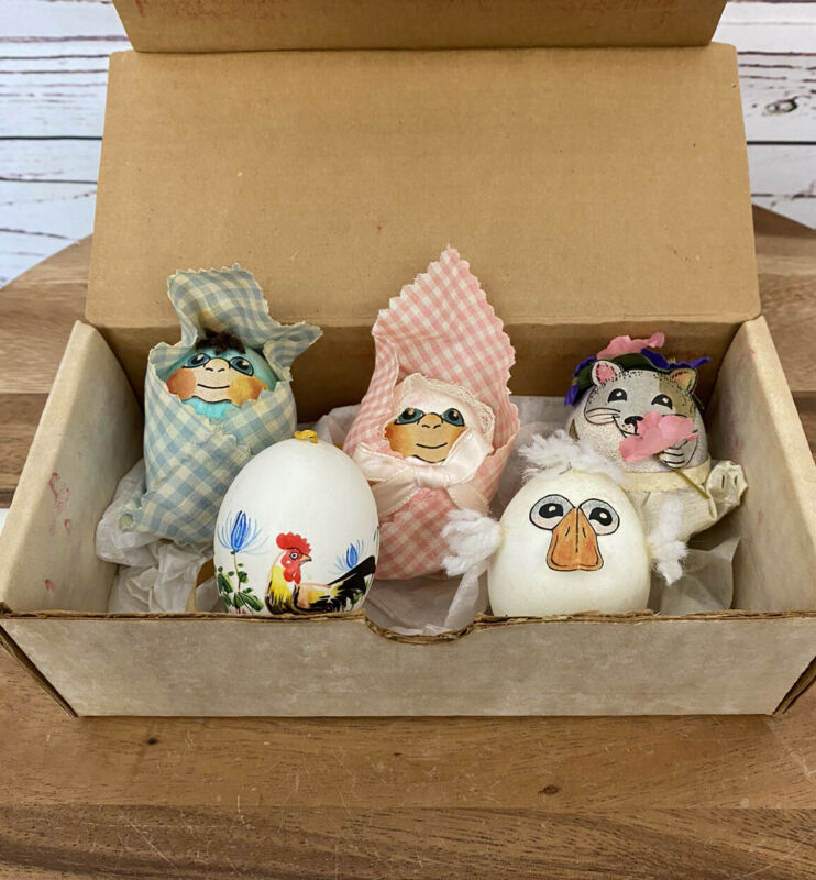 Vintage Easter Egg Wobble Eggs Hand Painted Decorated Weighted Papier-mâché