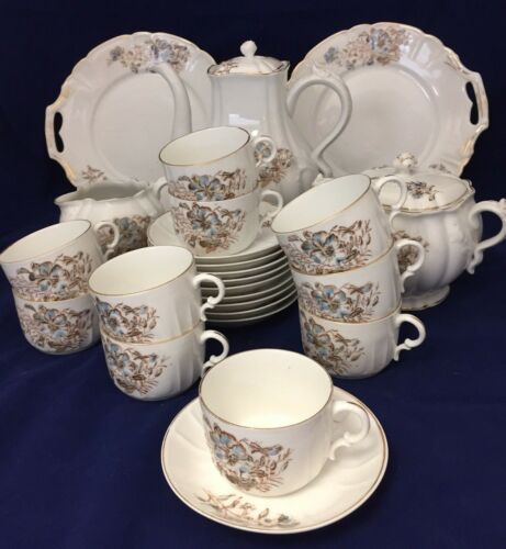 ANTIQUE PORCELAIN TEA COFFEE DESSERT SET BLUE PANSY FLORAL SHABBY CHIC SERVES 10