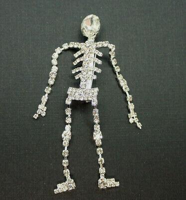 Sparkling Clear Rhinestone Dangling Skeleton Halloween Silver Tone Pin Brooch