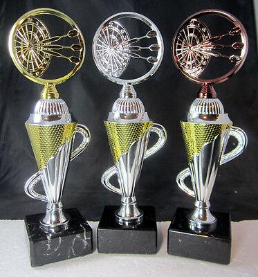 1x 3er Serie Dartsport - Pokale, Pokal 26,5cm hoch inkl. Gravur Dart, Spicker