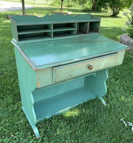 Vintage Wooden Secretary Desk Painted