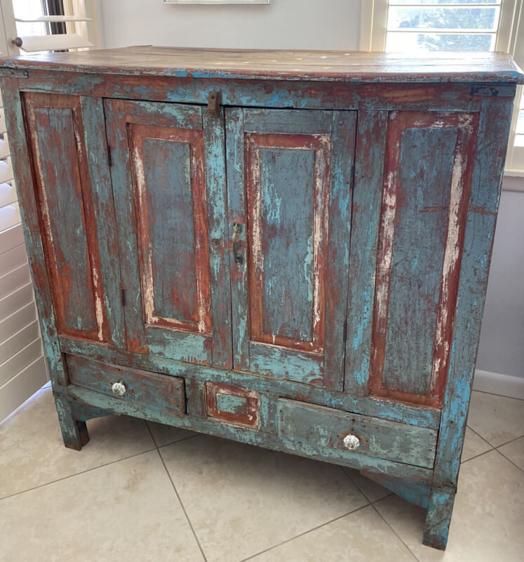 Antique Armoire Distressed Blue Cabinet Reclaimed Wood Storage