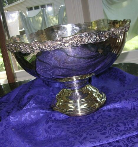Vintage Towle Silverplate Footed Punch Bowl -grapes floral & shell motif