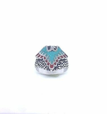 Vintage Southwestern Real Stone Inlay Size 13.25 Men's Eagle Ring