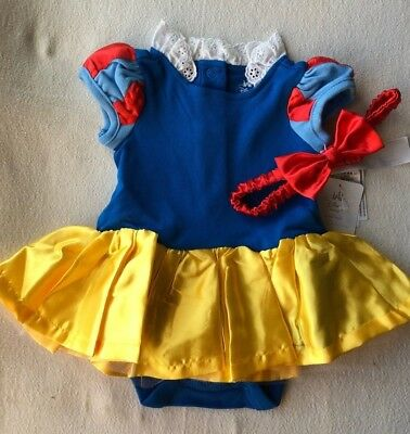 SNOW WHITE~Baby~BODYSUIT with BOW~COSTUME~Cotton~Infant~0-24M~Disney Store