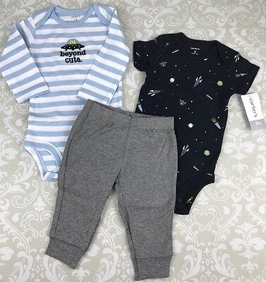 NWT Baby Boy 3 Mo Outfit Set Carters 3 Piece Alien Rockets Beyond Cute Cotton