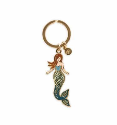 NEW Rifle Paper Co Mermaid Keychain Goldtone Enamel Brass
