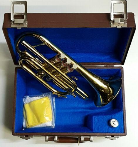 B&S CORNET Markneukirchen Klingenthal in Gold Brass - Original Wood Case