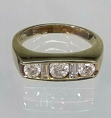 Vintage 9ct Yellow Gold Hallmarked .80 Diamond 5 Stone Ring STUNNING sz O  PINKY