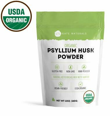 Psyllium Husk Powder Organic for Baking Keto Bread Gluten-Free Non-GMO (12oz).