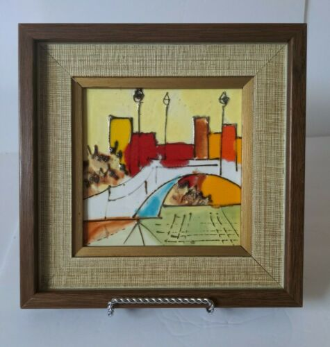 MCM Harris Strong Ceramic Art Tile of an Abstract Cityscape with Teak Frame
