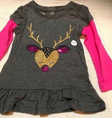 NWT Mud Pie Baby Girl Xmas Personalize I Love Heart Santa TShirt Christmas Top