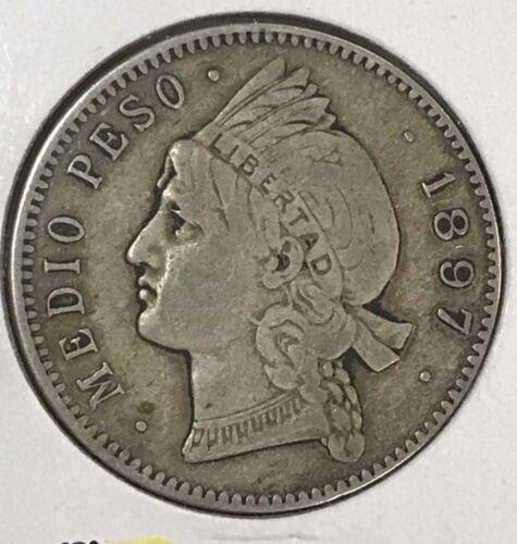 1897-A Dominican Republic 1/2 peso 12 1/2 Gramos silver coin