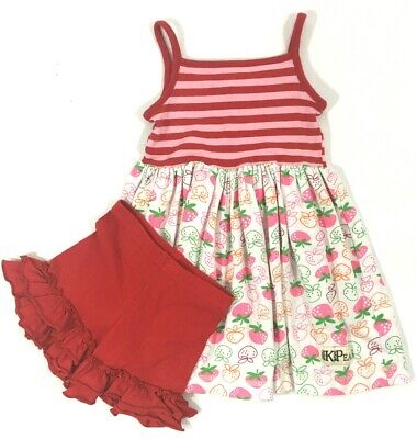 K Pea Outfit Strawberry Dress & Red Adorable Essential Ruffle Shorts Sz 2 4 - Pea Outfit