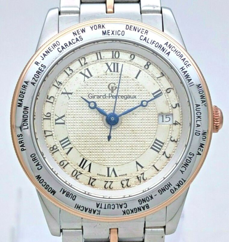 Vintage Girard Perregaux GP 90 World Time 18K Steel Ref 1010 Automatic Men Watch - watch picture 1