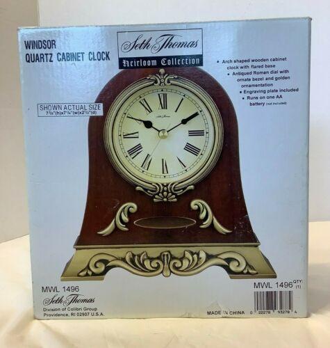 Seth Thomas Heirloom Collection Quartz Cabinet Clock MWL1496 NIB