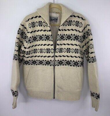 Schott Bros Cowl Neck Heavy Knit Fair Isle Sweater Faux Sherpa Lined Mens XL - Fair Isle Cowl