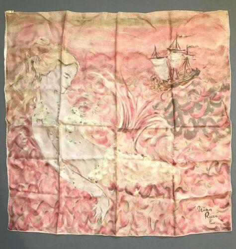 Vintage Nina Ricci Paris France Pink Chiffon Silk Scarf Mermaid Print 30