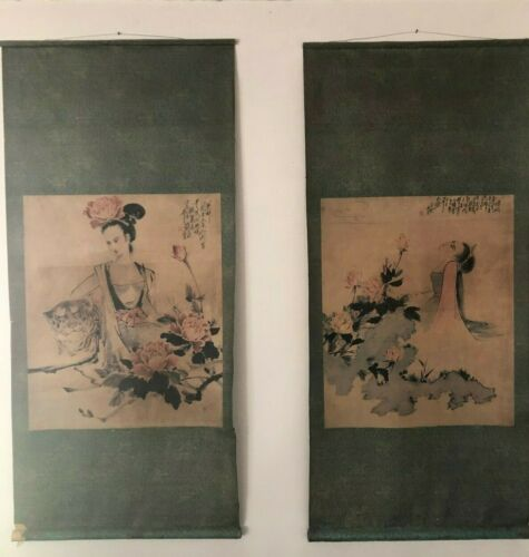 VINTAGE PAIR  ASIAN ART (JAPANESE CHINESE KOREAN) WATERCOLOR PAINTING SCROLLS
