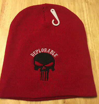DEPLORABLE Punisher Custom Embroidered  Beanie Hat (RED)](Punisher Beanie)