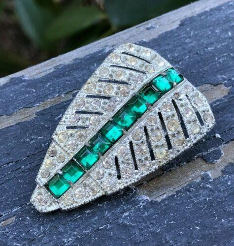 Vintage Dress Fur Clip Paste Rhinestone Emerald Green & Clear Art Deco
