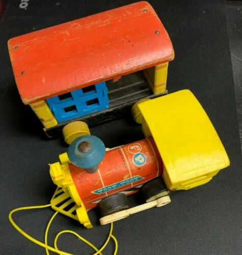 Fisher Price Little People Toot Toot Train Wooden Pull Toy