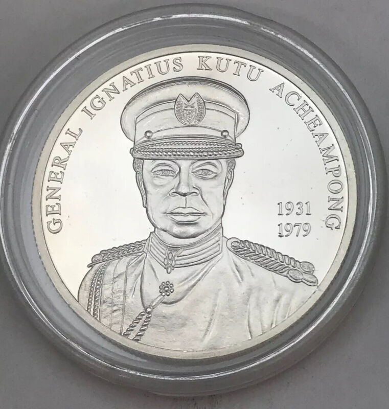 Uncirculated 2002 Ghana 100 Sika Silver Foreign Coin In Airtight Holder