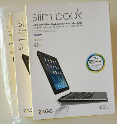 NEW ZAGG Slim Book Ultrathin Case Hinged Detachable Bluetooth Keyboard iPad Air