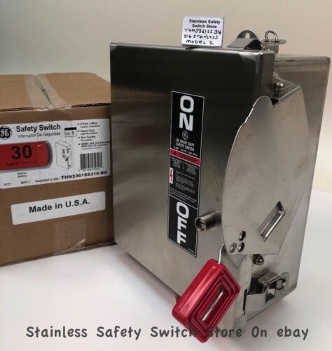 GE 316 Stainless THN3361SS316-BA 30a 600v Safety Switch Non-Fused 240 Available