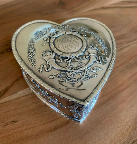 WILLIAM DURGIN EMPIRE PATTERN ANTIQUE STERLING SILVER HEART SHAPED BOX C. 1900