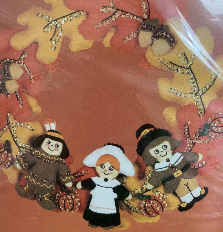 Lil Pilgrims 13in Wreath Autumn Felt Applique Kit Bucilla Complete Thanksgiving