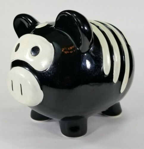 "Ceramic Halloween Skeleton Pig Piggy Bank w/Padded Feet, Large Black 8""x6""x6"""