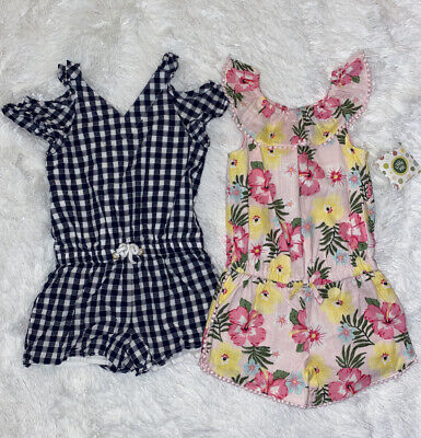 🌺 Girl's Size 4T NAUTICA & LITTLE ME Summer Romper Lot of 2 Gingham Floral