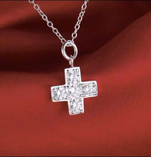 Women 925 Sterling Silver CZ Cubic Crystal Small Cross Pendant Necklace N32 Fashion Jewelry