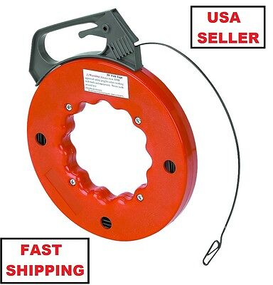 50 Foot Fish Tape Flexible Steel Wire Cable Puller Electrician Electrical