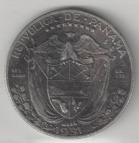 PANAMA, 1931, 1/4 BALBOA, SILVER, KM#11.1, VERY FINE+, LOW MINTAGE 48,000