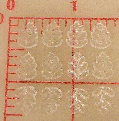 12 vintage Czech glass textured sew-on leaves clear crystal 2 hole 11mm x 8mm