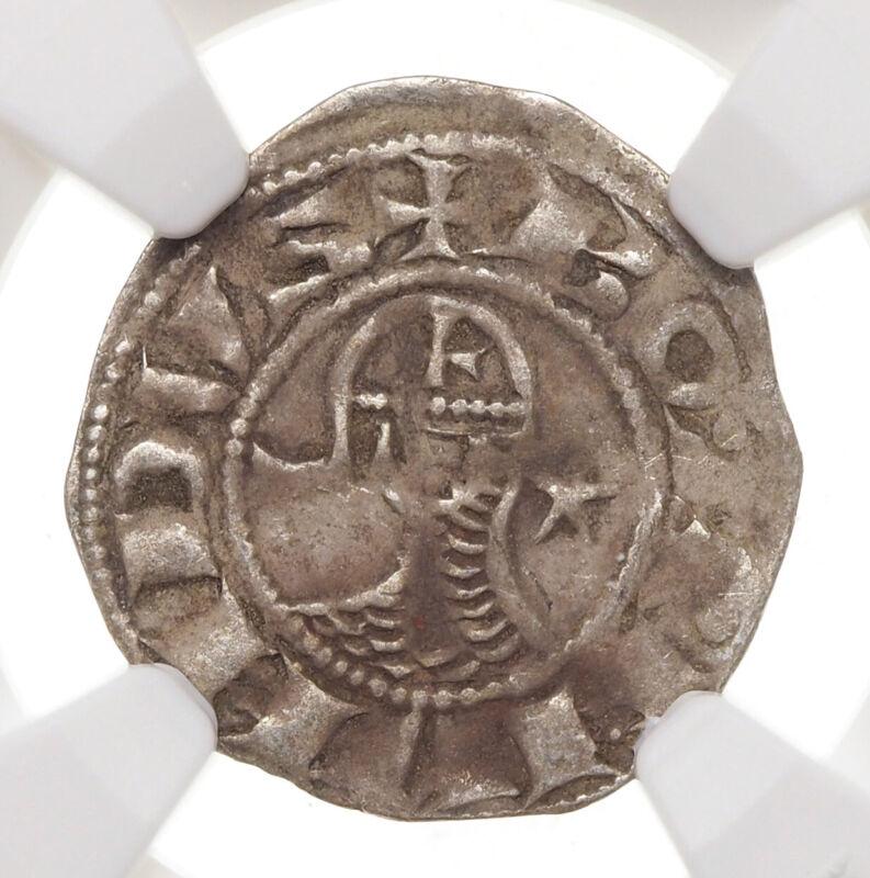 CRUSADERS, Antioch. Bohemond III Silver Denier, 1163-1188 AD, NGC VF Details