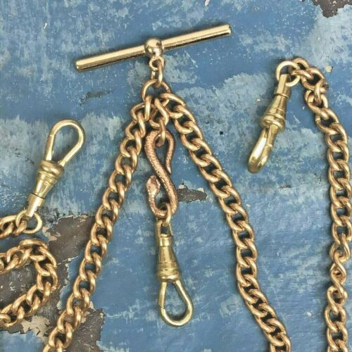 SNAKE pocket watch chain or 18in necklace double Albert Repro Victorian Men