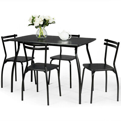 Costway 5 Pcs Dining Set Table And 4 Chairs Home Kitchen Room Breakfast