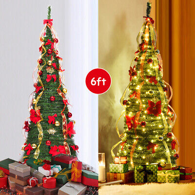 Gymax 6' Christmas Spruce Pre-lit Poinsettia Tree Decorated Pop-Up Artificial