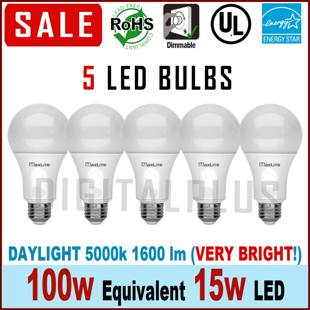 Maxlite LED Light Bulbs Daylight Dimmable 15Watt 100 Watt Eq