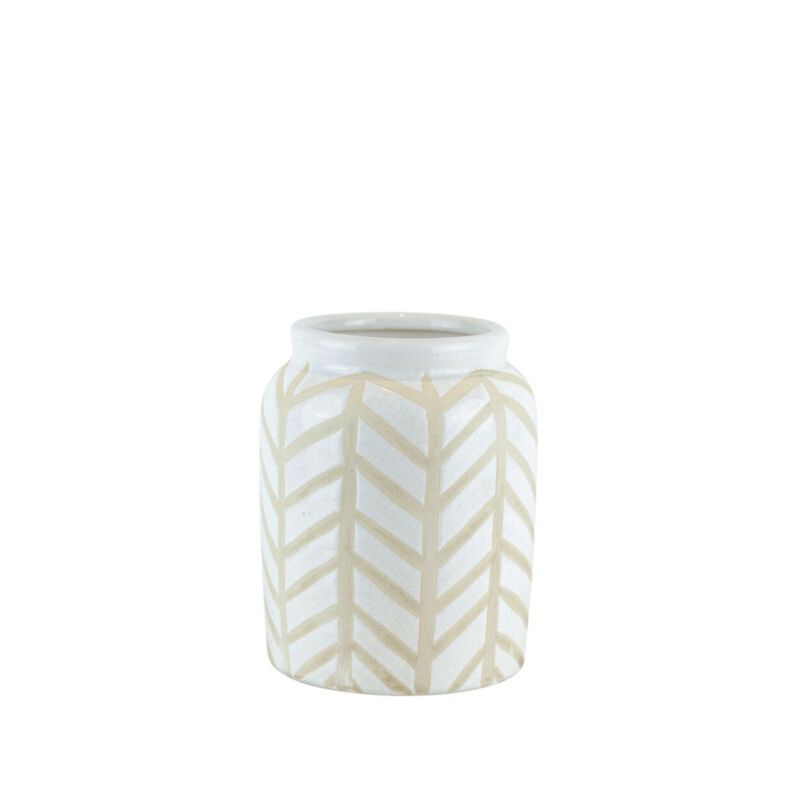 Saltoro Sherpi Crackled Textured Ceramic Table Vase With Geometric Pattern,