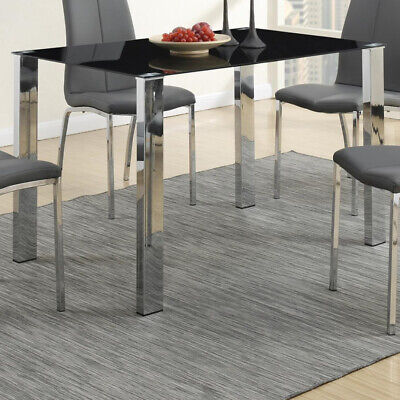 Saltoro Sherpi Metal Based Dining Table With Dramatic Black Glass Top
