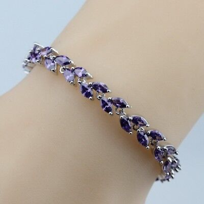 "Amethyst Purple Grecian Leaves Tennis Bracelet, Handmade 925 Sterling Silver  7"""